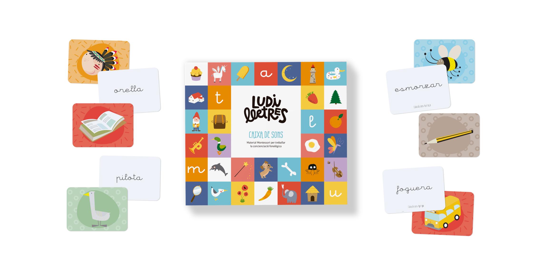 La Caixa de sons és un jou compost de differente cartes adequat tant per a l'aula com per jugar a casa.